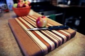 cutting board with apple