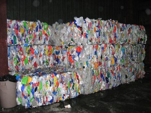 Plastic recycling bales