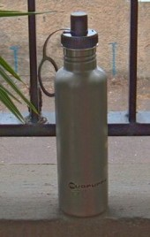 Reusable drinking bottle made from stainless steel